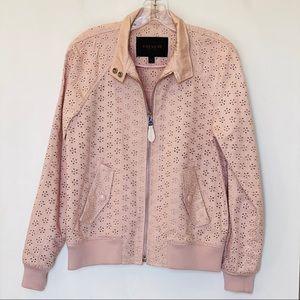Coach Eyelet Raglan Pink Bomber Jacket - LIKE NEW